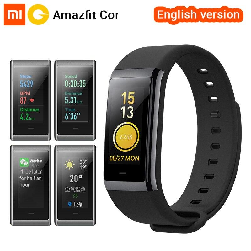 [Versión en inglés] xiaomi amazfit Cor midong Smart wristband color IPS Pantalla de ritmo cardíaco Monitores fitness Tracker impermeable 50 M