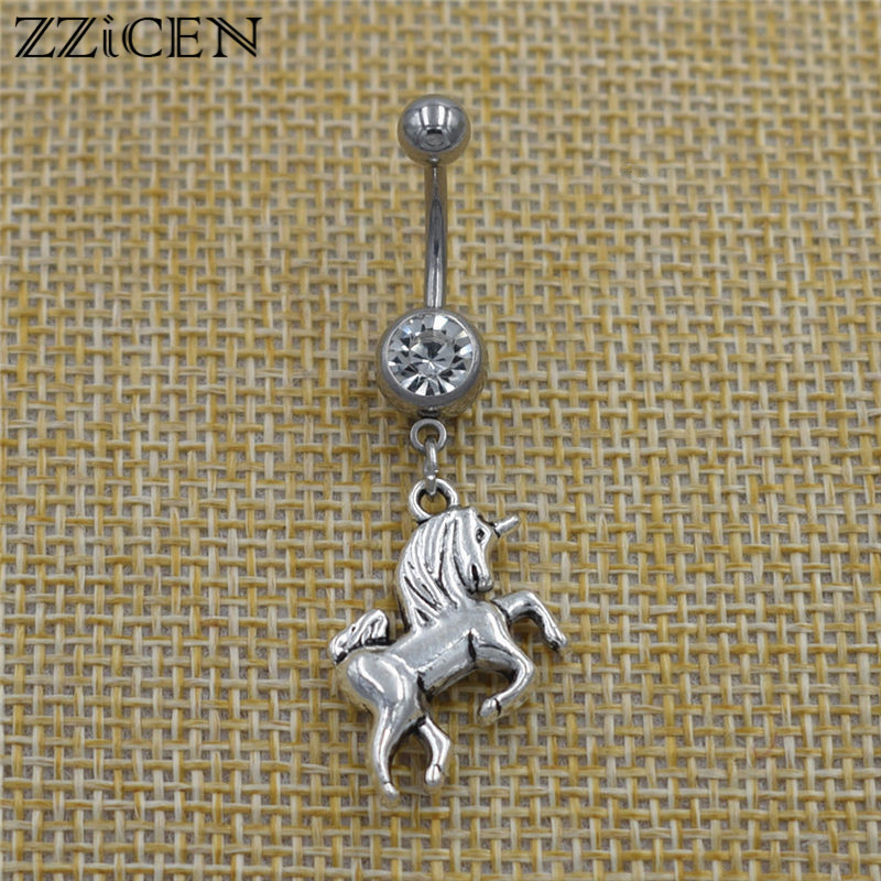 New 2019 Fashion Horse Unicorn Pendant Dangle Navel Belly Button Rings Crystal Body Piercing Jewelry for Women Best Friend Gifts|Body Jewelry| - AliExpress