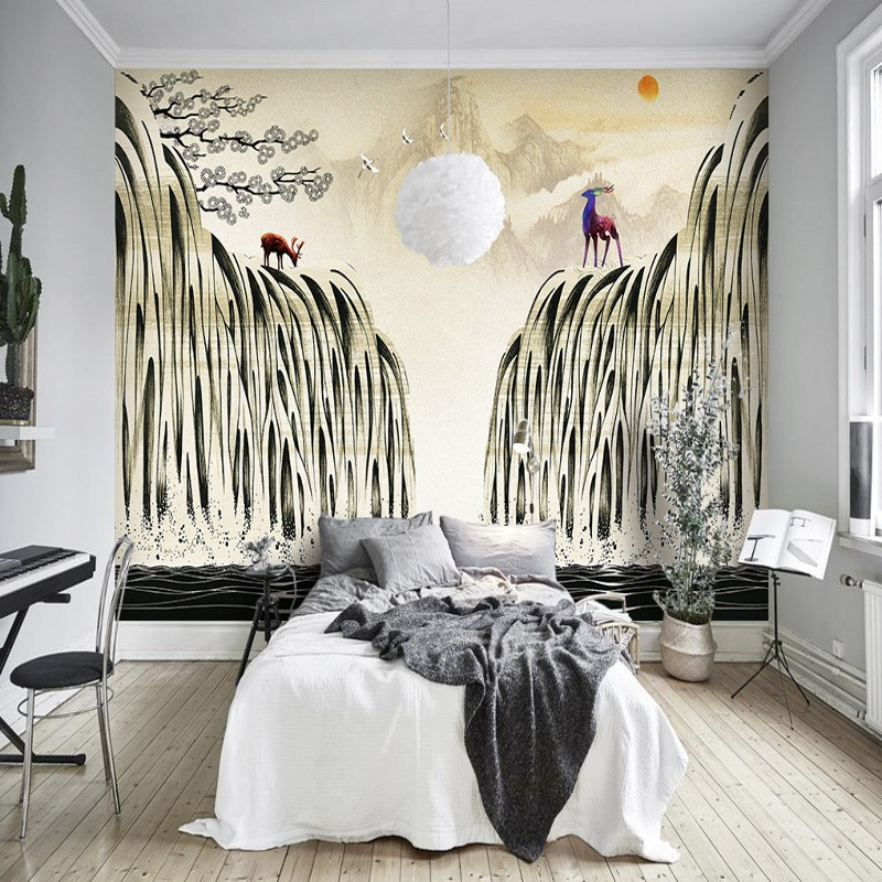 Free Shipping Scandinavian art deer art background wall living room bedroom wallpaper mural coffee house home decoration