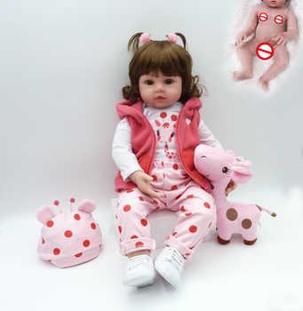 new full body silicone version pink Giraffe doll very flexible silicone waterproof bath toy lifelike bebe doll reborn baby