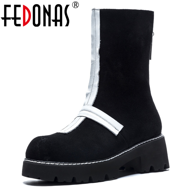 FEDONAS Brand Black Mid-calf Boots Thick High Heels Zipper Motorcycle Boots Platforms Long Autumn Winter Shoes Woman New Boots fedonas lace up boots 2019 fashion thick heel mid calf boots women high heels autumn winter shoes woman platforms boots