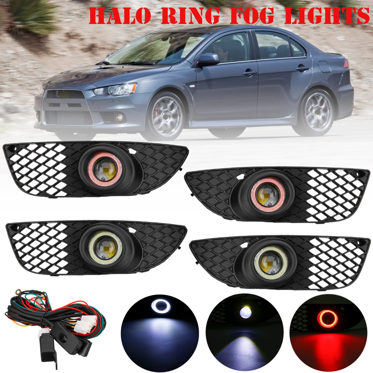 Clear Lens Halo Ring Fog Lights Lamps With Wiring Harness Switch Relay on