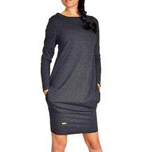 2016 Women Solid Short Mini Dress Long Sleeve Warm Sweater Dress Jumper Pullover