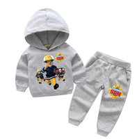 2018 New Years Children Fireman Sam Print Sport Hoodie Suits For Boy Girls Clothing Sets Kids