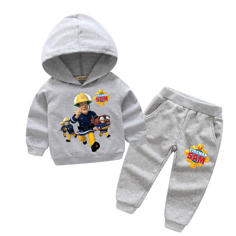 2018 New Years Children Fireman Sam Print Sport Hoodie Suits For Boy Girls Clothing Sets Kids Casual Sport Suits Clothes TZ001