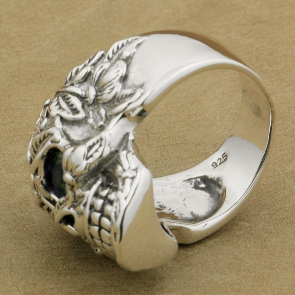 3392cbf26c6b LINSION 925 Sterling Silver Flower Skull Ring Green CZ Eyes Mens Biker Rock  Punk Style 9W305 US Size 7.5~15-in Rings from Jewelry   Accessories on ...