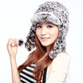 HA141-new 2016 autumn winter  hat with natural rex rabbit fur pompon gray FASHION  knitted warm fur baseball cap