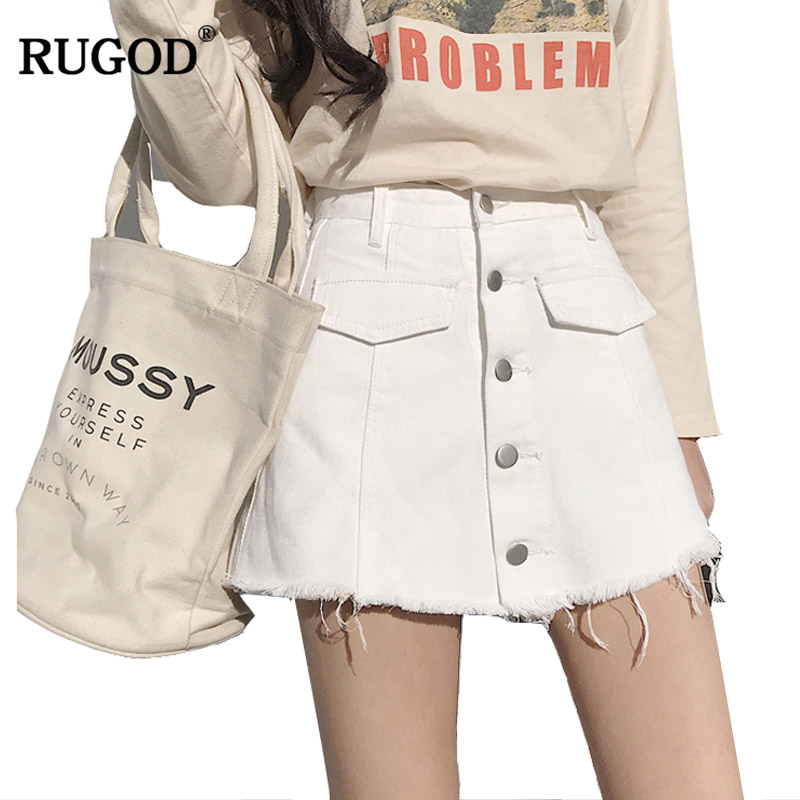 7b6d63ab3 RUGOD 2018 verano moda botón diseño alta cintura Jean Shorts falda mujeres  Casual franja deshilachados pantalones cortos Denim Mujer Short Jeans