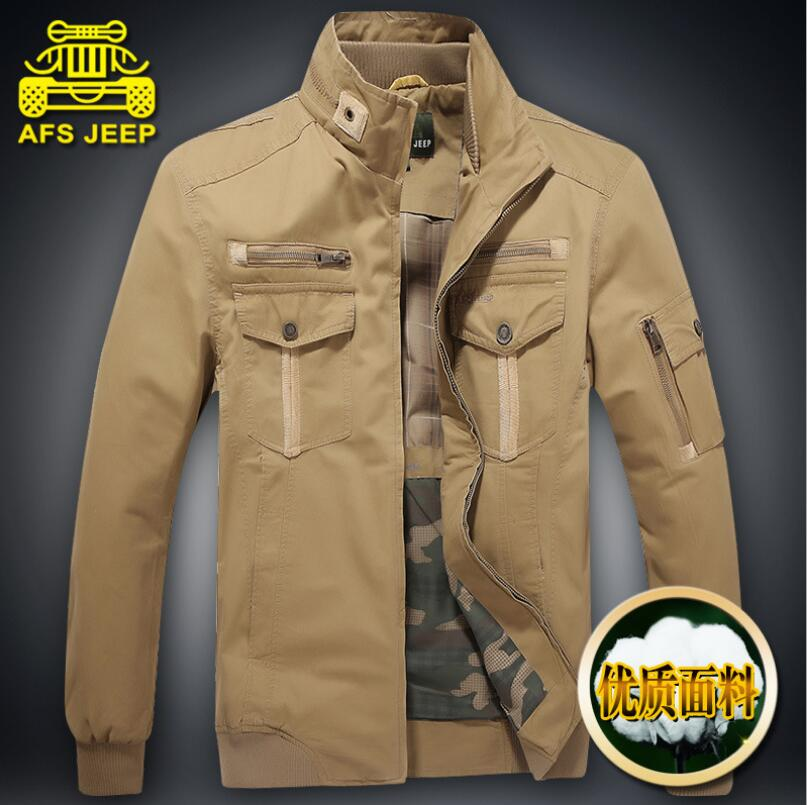 Brand AFS Jeep Mens Jackets Autumn Winter 2017 100 Cotton Loose Casual Military Army Coats Male