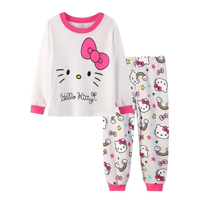 2-7 Anni Ragazze Kid Pigiama Inverno 2019 Bambini Pajamas Set Casa Di Svago Simpatico Cartone Animato Ragazza Cotone A Maniche Lunghe Pigiama Hyl9