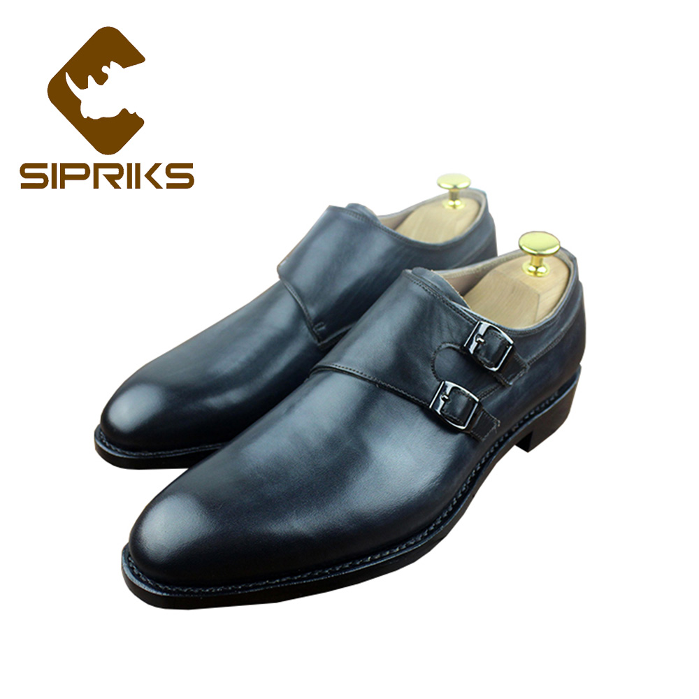 Sipriks Imported Italian Goodyear Welted Shoes For Men Genuine Leather Black Double Monk Straps Shoes Boss Office Work Shoes New [100%] the new imported genuine 6mbp50rh060 01 6mbp50rta060 01 billing