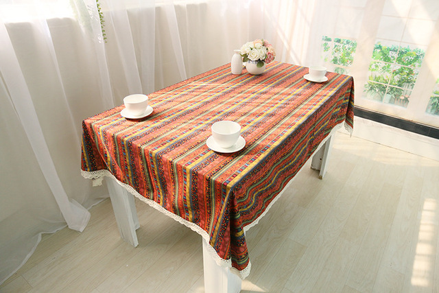Bohemia Style Striped Tablecloths Ethnic Style Tea Table Cloth Lace Coffee  Table Cloth Free Shipping