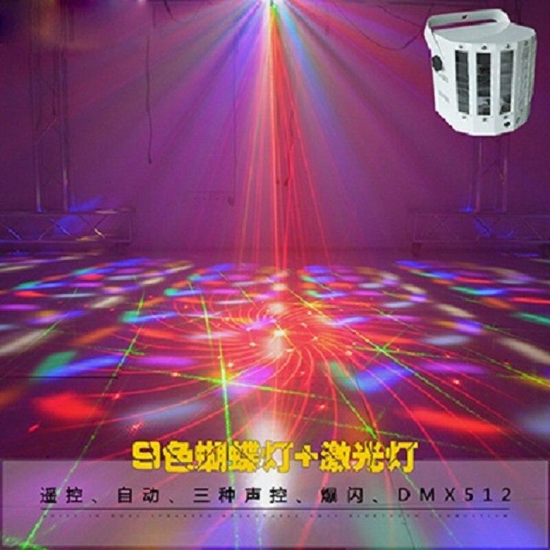 Led бабочка Лазерная лампа Портативный вспышка DJ light Вечерние огни голосовой Рождество лазерный проектор