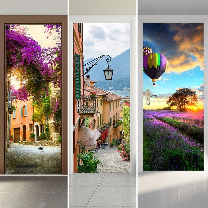 Porte Autocollants Paysage Étanche Salon Chambre Papier Peint de Porte Auto-Adhésif Art Stickers Muraux Imitation 3D Wall Sticker