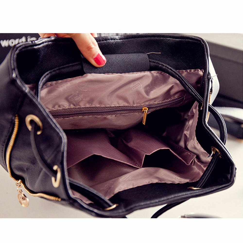 Black School Supplies Backpack Female Pu Leather Backpack Japanese Street Bag Women's School Bag For Adolescent Girls Backpacks #5
