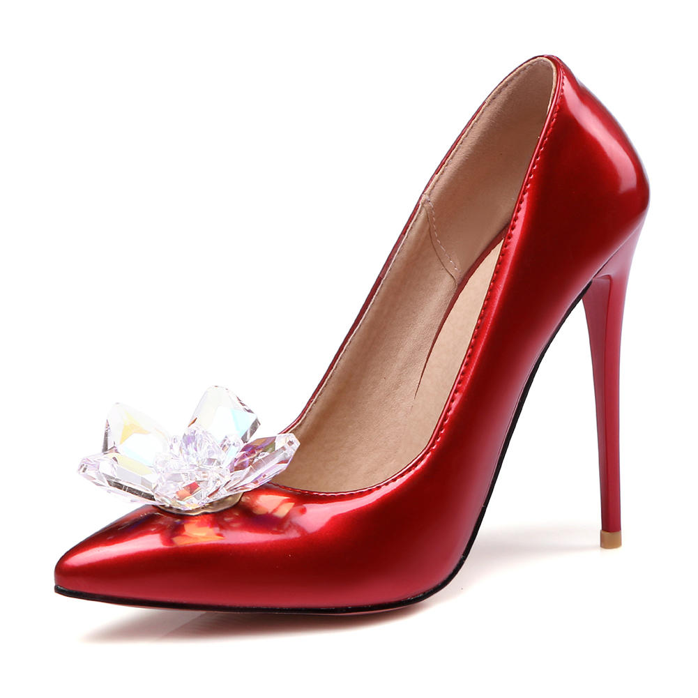 on Nouveau 47 bright Chaussures Femme Ribetrini Color Taille Bout Pointu Casual La Pink lotus Solide Talons Plus Mince Haute Cristal rouge Pompes 34 Printemps Slip Noir wv8nNm0