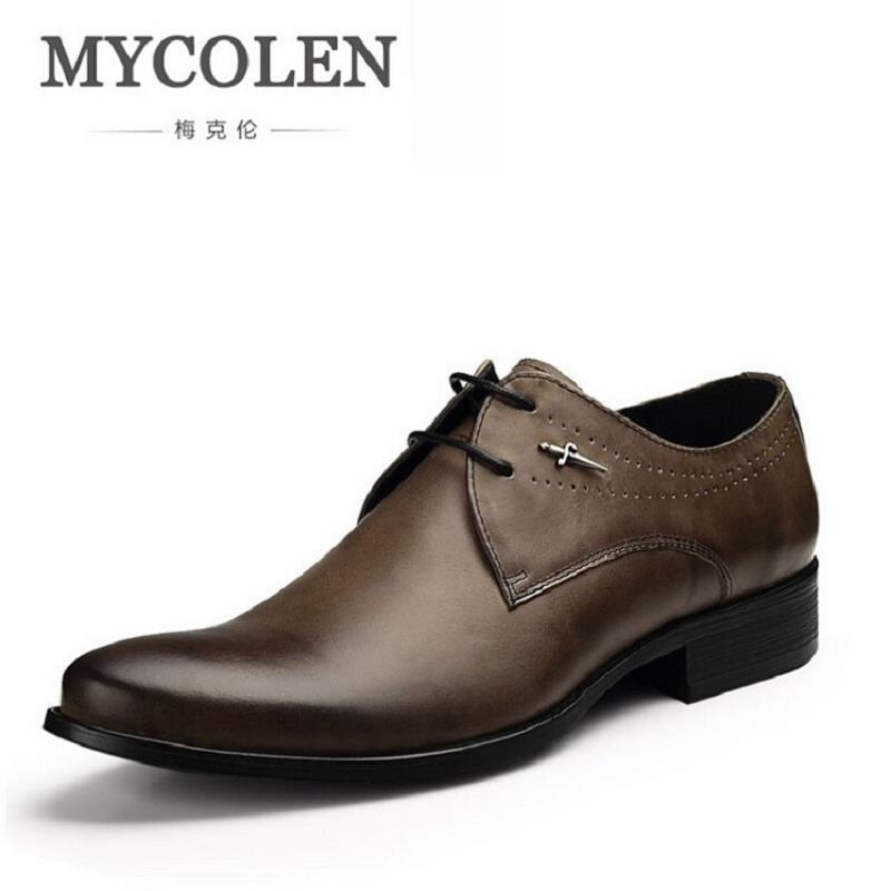 MYCOLEN Men Dress Shoes Soft Round Toe Classic Business Oxford Shoes For Men Sapato Social Masculino New Brand Men Leather Shoes globo светильник на солнечных батареях globo solar 33843 15