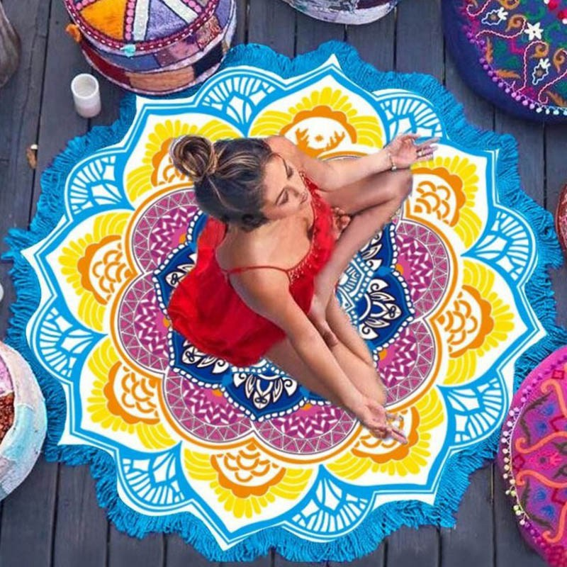 Yoga Mat Blanket Wall Hanging Tapestry Round Indian Mandala Fitness Beach Towel Sunblock Lotus Bohemian Sports Yoga Blanket indian mandala paisley lotus shape beach throw