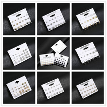 2019 New Hot Sell Small Stud Earrings Set For Women Girl Punk Stud Earrings Set Personality Party Jewelry Fashion Brincos hot sell high quality four leaf clover stud earrings classic jewelry for women brincos shell two flowers stud earrings wholesale
