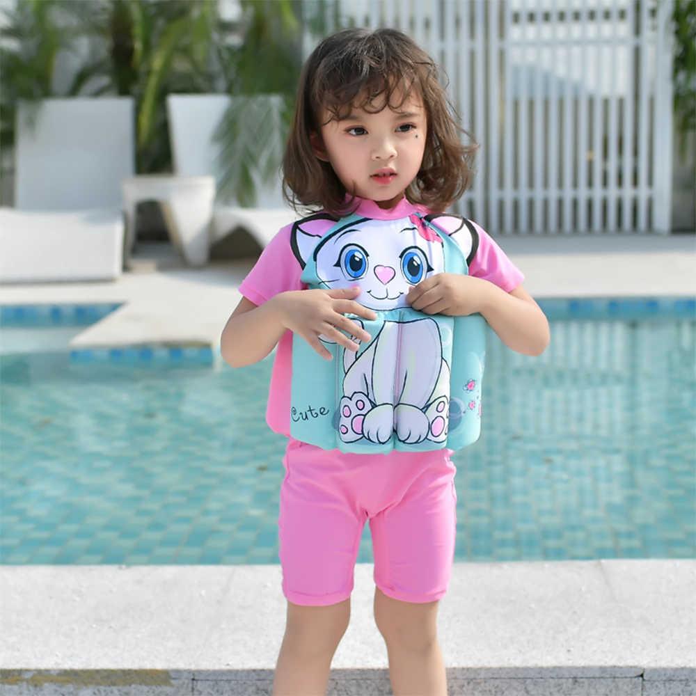 子供水着ガール & ボーイ水泳ワンピーススーツ着脱可能なフローティング水着子供ジッパーライフベスト Buofancy 水着キャップ