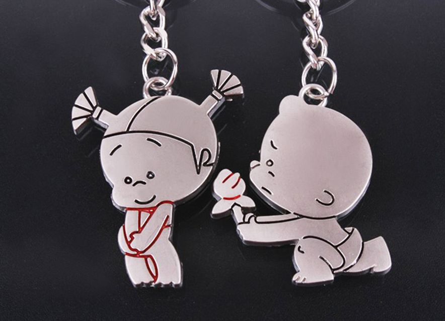 free shipping 100sets lot new zinc pobaby boy and girl couple keychain sets font b favors