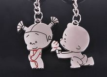 free shipping 100sets/lot new zinc pobaby boy and girl couple keychain sets favors and gifts for wedding party, customized gifts