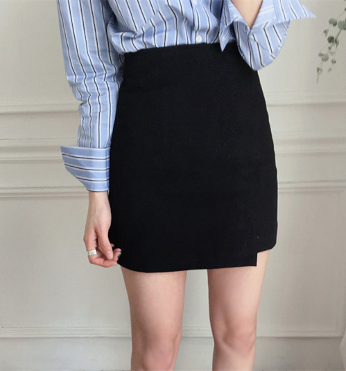 2018 NEW  Fashion Summer Women Skirt Solid Black Sexy High Waist A-line OL Office Lady Casual Mini Skirts