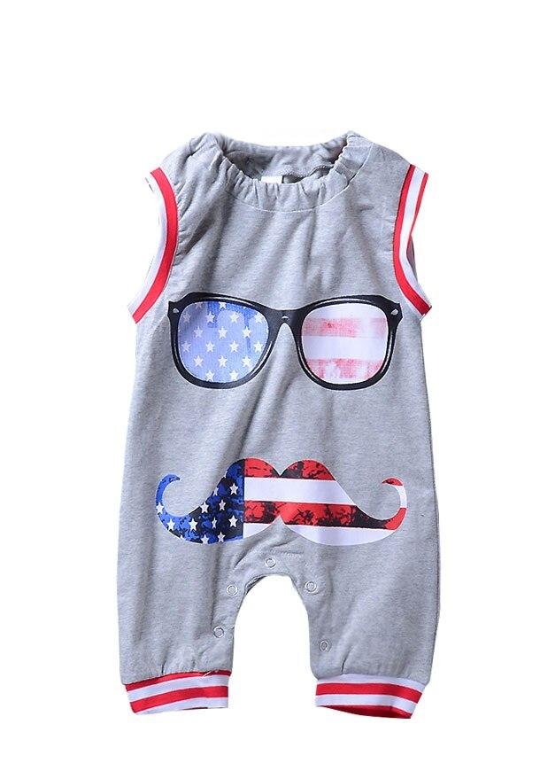 Baby Babykleding Mouwloze Glazen Gestreepte Romper Cartoon Jumpsuit - Babykleding - Foto 1