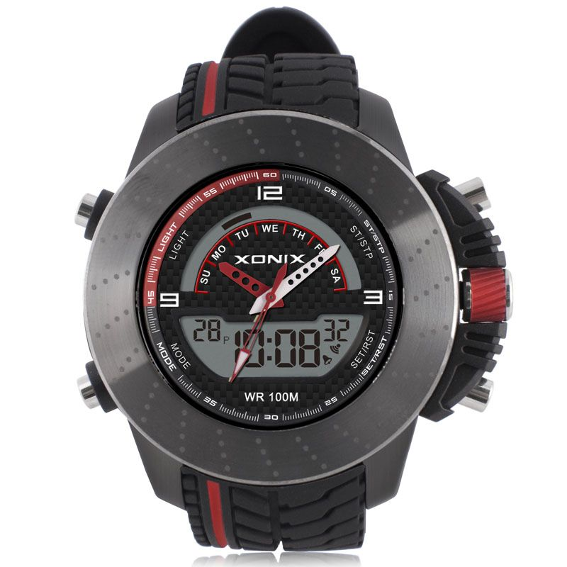 Men Sports Watches Digital Quartz Dual Display hardlex Waterproof100m Led Light Multifunctional Outdoor Wristwatch