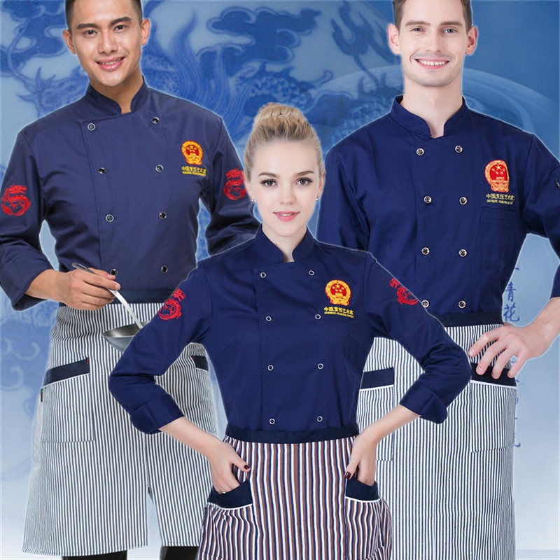 Custom Chef Clothing New Unisex Hotel Restaurant Kitchen White Chef Jacket Uniforms Restaurant Uniforms Aprons Work Clothes J004