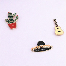 Europe and the United States foreign trade jewelry manufacturer wholesale Potted cactus guitar planet enamel brooch