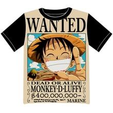 Envío Gratis Anime Manga de One Piece Luffy Quería Camiseta Hombres de Las Mujeres Cosplay Camiseta de Malla Negro Tee 010