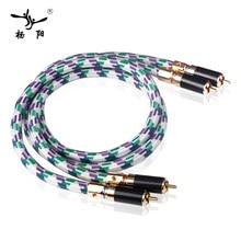 YYAUDIO C2 A pair  Hawk 6N oxygen-free copper RCA double lotus thread HiFi audio cable Signal line