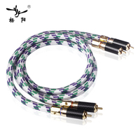YYAUDIO C2 A pair Hawk 6N oxygen free copper RCA double lotus thread HiFi audio cable Signal line