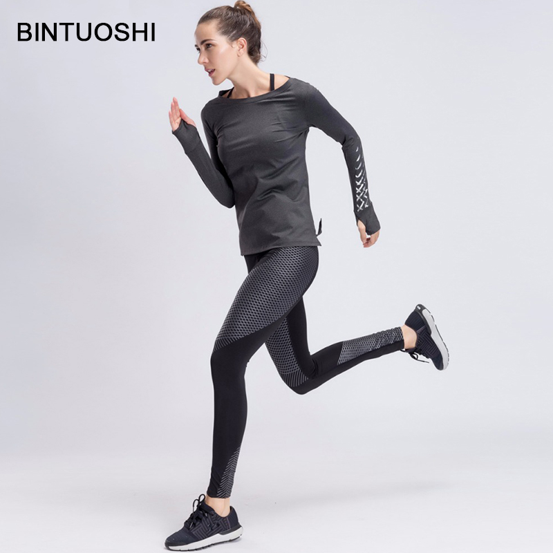BINTUOSHI Sport Yoga Ensemble Femmes Gym Vêtements Gris Patchwork Fitness Costume Féminin À Manches Longues de Course Sport Workout Yoga Costumes