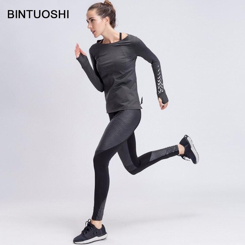 BINTUOSHI Sport Yoga Ensemble Femmes Gym Vêtements Gris Patchwork Fitness Costume Féminin À Manches Longues de Course Sport Workout Yoga Costumes