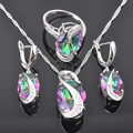FAHOYO Multicolor Rainbow Zirconia Women's 925 Sterling Silver Jewelry Sets Earrings/Pendant/Necklace/Rings Free Shipping QZ075
