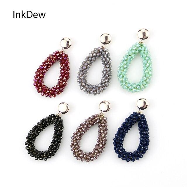 INKDEW новые маленькие серьги-капли воды для женщин бусины серьги ручной работы большие серьги длинные серьги винтажный подарок boho
