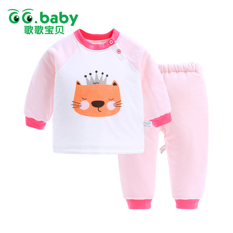 Baby 2017 Winter Infant Underwear Set Baby Girl Autumn and Winter Cotton Clothes Baby Fleece Set