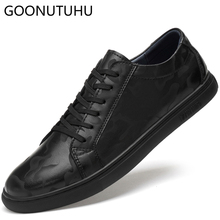 2019 new spring summer Mens Vulcanize Shoes casual genuine leather classics black white shoe man lace up platform shoes for men