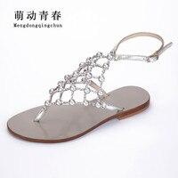 2019 New Women Sandals Fashion Flats Shoes Women Buckle Strap Crystal Pearl Flat Heels Sandals Summer Sandals Plus size