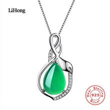 Real 925 Silver Halsband Emerald AAA Crystal Hängsmycke Silver Chain Charm Smycken Engagemang Presenter