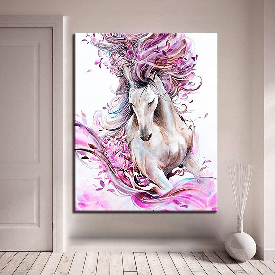 DIY ציור יד מופשטת סוס בעלי החיים שמן תמונות ורוד פרח ערכות צביעת ציור סלון בית תפאורה