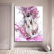 DIY Краска ing по номерам ручная краска абстрактная Лошадь Животное Масляные картины розовый цветочные наборы раскраска рисунок гостиная домашний декор