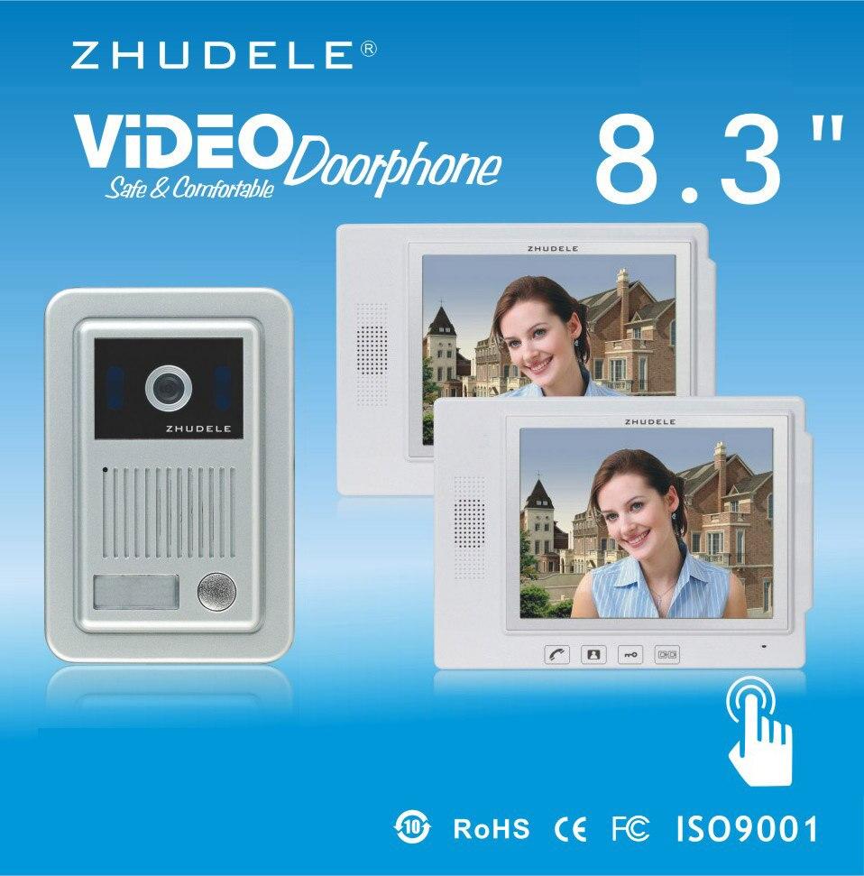 ZHUDELE Top Quality Intercom System 8.3 Video Door Phone Touch Key Doorbell&IR 700TVL HD Home Security CCD Camera 1V2