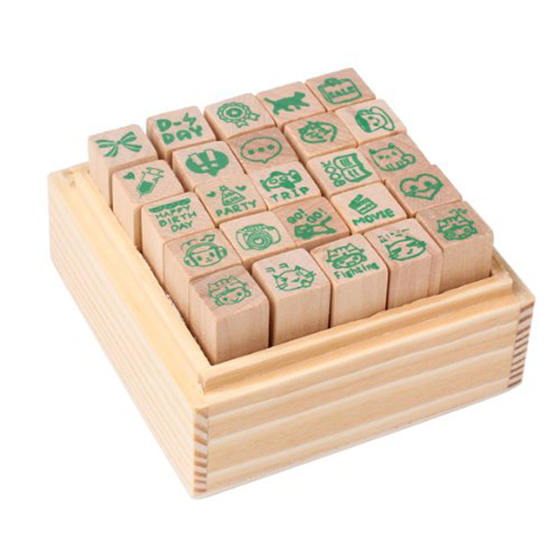Perfect-25xHappy Life diary stamp DIY rubber stamp wood stamp with wooden box she love teacher stamp self inking rubber stamp school homework reward education praise scrapbooking cartoon kids stamp