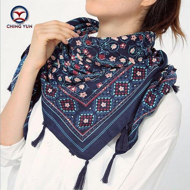2016 hot sale fashion woman 110*110cm Scarf cotton and linen square scarves short tassel floral Women Winter lady big shawls