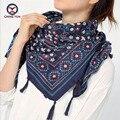 2016 venta caliente mujer de la manera 110*110 cm bufandas cuadradas de la Bufanda de algodón y lino corto tassel floral Invierno de Las Mujeres señora grandes chales