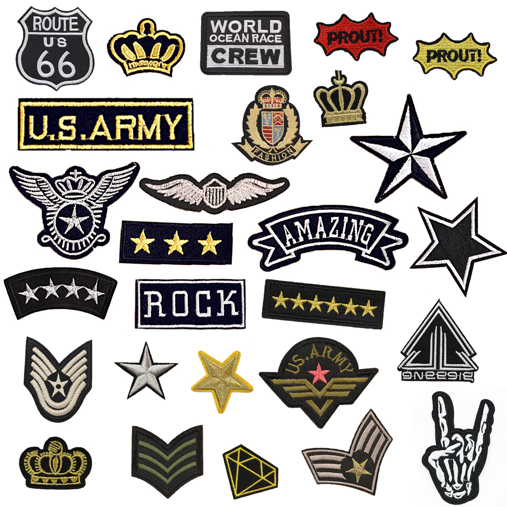 1 PC Military Cloth Stripes on Clothes Embroidered Patches for Clothing Ironing Patch for Backpack Jeans Parches Bordados Badges in Patches from Home Garden