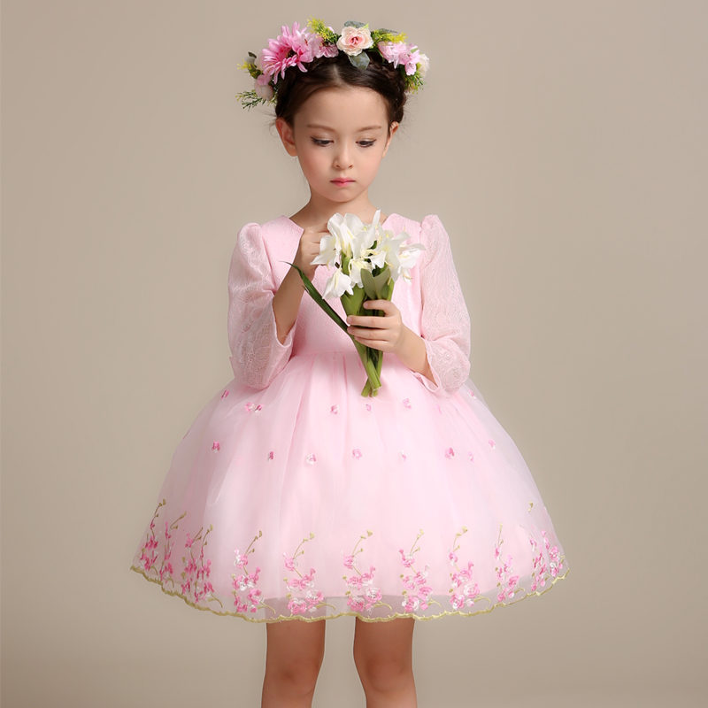 Princess Girls Dress Children Bowknot Party Dresses Girls Chiffon Bow Party Dress Formal Wedding Girl Birthday Clothes YL201